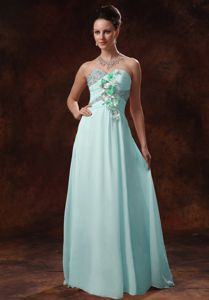 Beaded Sweetheart Pageant Dress with Hand Made Flowers in Baby Blue