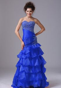 Blue Sexy Mermaid Dresses For Pageants In Nj in Organza in New Bedford