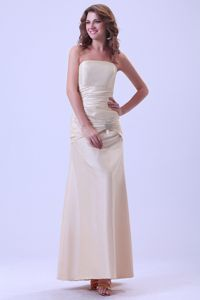 Champagne Beaded Ankle-length Beauty Pageant Dress in Taffeta in Carmel