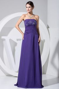Beaded Ruched Purple 2013 Miss Universe Pageant Dresses in Rockford