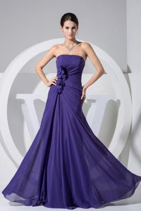 Purple Strapless Pageant Girl Dresses with Hand Made Flowers in Peoria