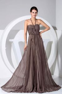 Halter Pleated Brown Glitz Pageant Dresses with Brush Train in Lombard