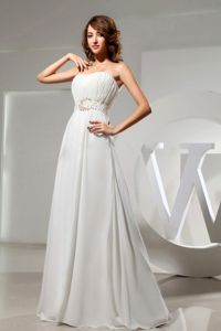 Beaded White Pageant Dresses For Miss America with Ruches in Moscow