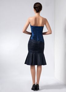 Navy Blue Strapless Taffeta Beaded Pageant Dresses with Appliques