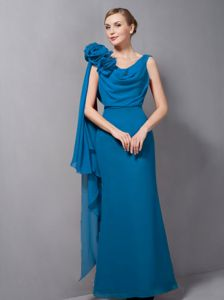 Teal V-neck Floor-length Pageant Dresses For Girls with Hand Made Flower