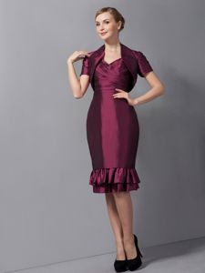Knee-length Taffeta Ruched Glitz Pageant Dresses in Burgundy in Smyrna