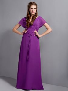 Purple V-neck Floor-length Chiffon Ruched Glitz Pageant Dresses in Duluth