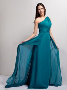 Turquoise One Shoulder Pageant Dresses For Girls with Ruches in Augusta