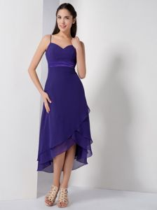 Customize Spaghetti Straps High-low Girl Pageant Dress in Purple in Athens