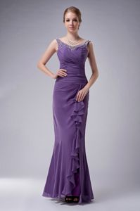 Purple Floor-length Chiffon Beauty Pageant Dresses with Beading in Albany