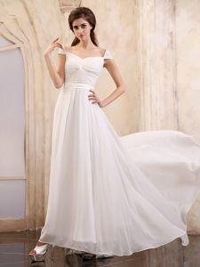 Chiffon White Interview Pageant Suits with Cap Sleeves and Brush Train