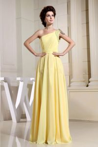 Beaded One Shoulder Yellow Miss Universe Pageant Dresses in Hialeah