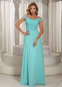 Aqua Blue Off the Shoulder Ruched Interview Pageant Suits in Boulder