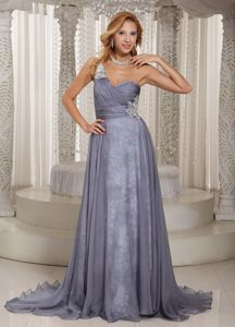 Gray One Shoulder Ruched Miss Universe Pageant Dress with Appliques