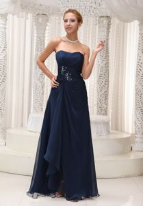 Modest Strapless Navy Blue Chiffon Pageant Dress with Beading in Venice