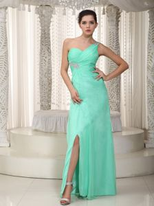Apple Green One Shoulder Chiffon Pageant Dress with Beading in Ventura