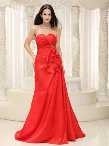Red Ruched Lace-up Miss Universe Pageant Dresses with Brush Train