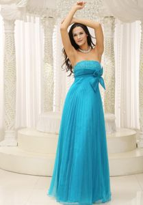 Pleated Beaded Teal Interview Pageant Suits with Bowknot in New York