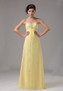 Yellow Sweetheart Chiffon Pageant Dresses For Girls with Beading in Benoni