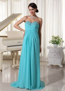 Aqua Blue Ruched Sweetheart Beaded Beauty Pageant Dress in Clemson