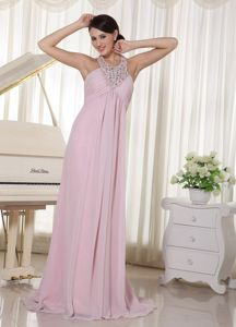 Baby Pink Halter Beaded Chiffon Ruched Pageant Dresses For Miss USA