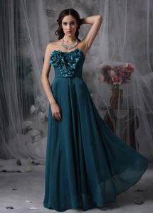 Handmade Flowers Floor-length Glitz Pageant Dresses in Peacock Green