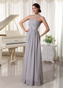 Simple Grey Ruched Chiffon Beaded Beauty Pageant Dresses in Vermont