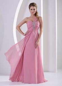 One Shoulder Beaded Chiffon Grey Interview Pageant Suits in Rose Pink