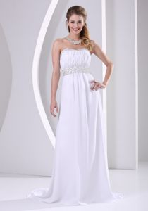 Ruched White Chiffon Beaded Sweep Train Pageant Dresses in Wisconsin