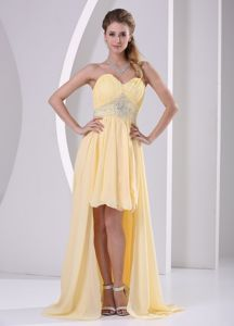 High-low Beaded Sweetheart Ruched Pageant Dresses For Girl in Yellow