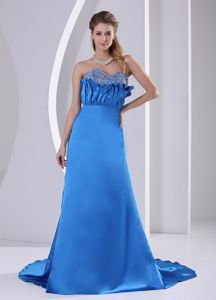 Sky Blue Court Train Beaded Sweetheart Ruched Pageant Dress Patterns