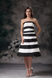 Black and White Strapless Knee-length Prom Pageant Dress in Washington