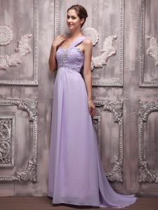 One Shoulder Ruched Chiffon Beaded Lilac Natural Beauty Pageants Dress