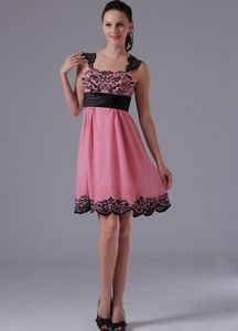Latest Straps Appliqued Short Beading Beauty Pageant Dresses in Rose Pink