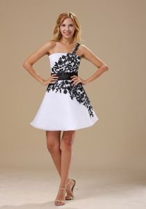 Embroidered One Shoulder Short Black and White Interview Pageant Suits