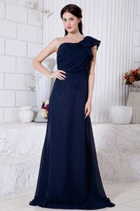 Navy Blue Ruched One Shoulder Chiffon Beauty Pageant Dresses in Virginia