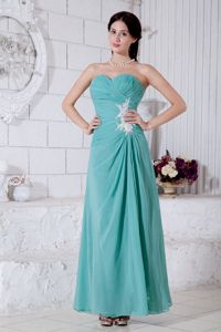 Turquoise Sweetheart Appliqued Ruched Chiffon Interview Pageant Suits