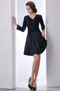 Black V-neck Mini-length Taffeta Ruched Natural Beauty Pageants Dress
