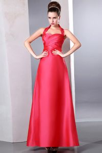 Halter Coral Red Ruched Ankle-length Taffeta Dresses For Pageants In Nj