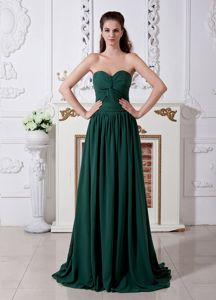 Brush Train Sweetheart Ruched Pageant Girl Dress in Dark Green in Utah