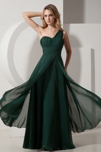 Chiffon Ruched Dark Green One Shoulder Pageant Dress For Miss USA