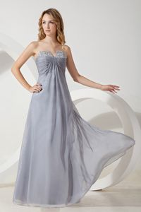 Silver Ruched Chiffon Strapless Beaded Girl Pageant Dress in Nashville