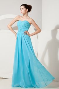 Elegant Baby Blue Sweetheart Ruched Chiffon Pageant Dresses in Vermont