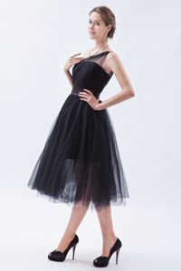 One Shoulder Tea-length Tulle Black Pageant Dress Patterns in Wisconsin