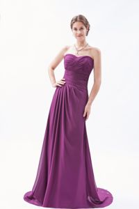Sweetheart Brush Train Chiffon Ruched Girl Pageant Dresses in Dark Purple