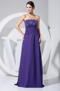 Ruched and Beaded Strapless Floor-length Pageant Gown in Purple in Utah
