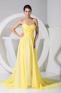 Sweetheart Watteau Train Back Out Interview Pageant Dresses in Yellow