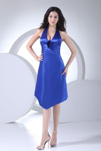 Hot Sale Blue Satin Halter Knee-length Interview Pageant Dress for Ladies