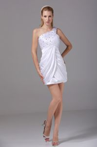 One Shoulder Beaded Short White Ruched Pageant Dresses For Miss USA