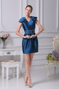 Cap Sleeves V-neck Beaded Bow CO Pageant Girl Dresses with Belt